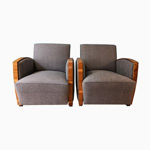Art Deco Walnut Lounge Chairs, 1930s, Set of 2