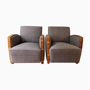 Art Deco Walnut Lounge Chairs, 1930s, Set of 2