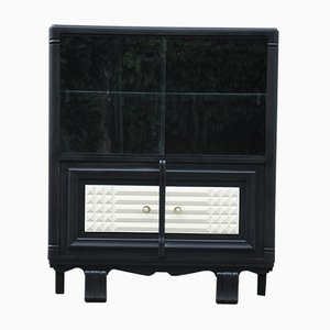 Mid-Century Art Deco French Glass and Oak Bar Cabinet, 1950s
