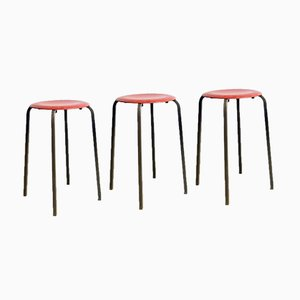 Industrial Danish Metal and Plywood Stools, 1970s, Set of 3