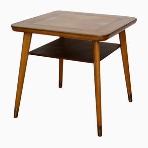 Mid-Century Beech and Brass Side Table, 1950s