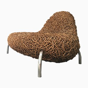 Rattan and Wicker Space Crab B Lounge Chair by Koji Katsuragi, 1980s
