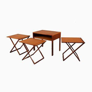 Scandinavian Modern Teak Folding Nesting Tables & End Table by Illum Wikkelsø for Silkeborg Møbelfabrik, 1950s