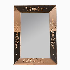 Art Deco Engraved Peach Glass Wall Mirror