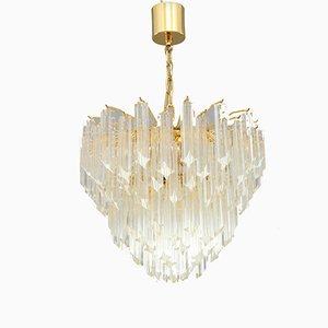 Lámpara de araña italiana moderna de cristal de Camer, años 70