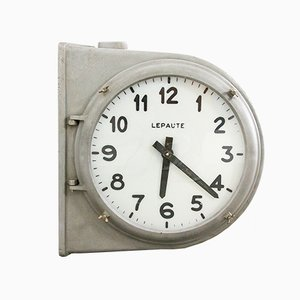 French Aluminum & Glass Industrial Double-Sided Station Clock from Le Paute, 1940s