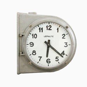 Horloge de Gare Double Face Industrielle en Aluminium et Verre de Le Paute, France, 1940s