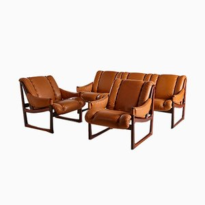 Leather and Rosewood Living Room Set from Bruksbo, 1960s