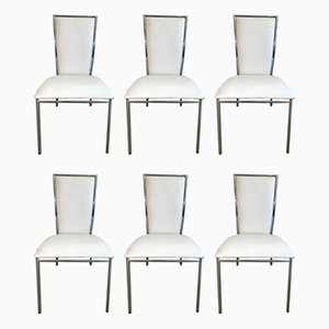 Minimalist Italian Leather and Steel Merykara Dining Chairs by Arnaldo Gamba for Roncato, 1990s, Set of 6