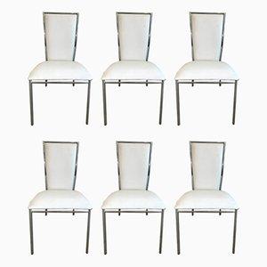 Minimalistische italienische Merykara Esszimmerstühle mit Sitz aus Leder & Stahlgestell von Arnaldo Gamba für Roncato, 1990er, 6er Set