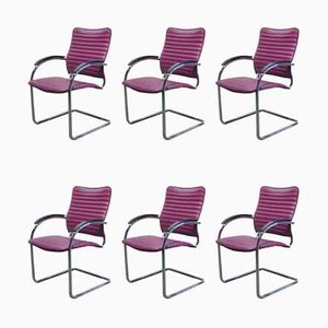 Model S74 F Purple Leather Dining Chairs by Josep Gorcica for Thonet, 1980s, Set of 6