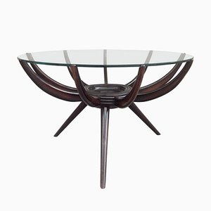 Italian Antiqued Walnut Spider Coffee Table by Carlo de Carli, 1950s