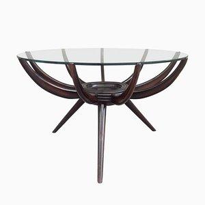 Tavolino da caffè Spider in legno di noce anticato di Carlo de Carli, Italia, anni '50