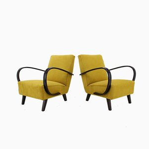 Beech and Fabric Armchairs by Jindřich Halabala, 1950s, Set of 2
