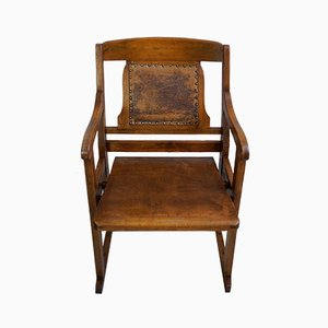 Antique Art Deco Beech and Leatherette Armchair