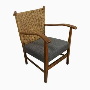 Oak, Rope & Grey Fabric Armchair by Bas van Pelt, 1930s