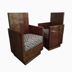 Poltrone Art Deco vintage in legno, Italia, anni '30, set di 2