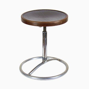 Vintage Bentwood and Chrome Swivel Stool by Michael Thonet for Slezak