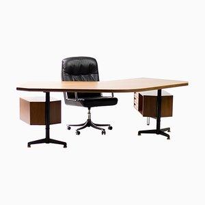 Set aus T96 Boomerang Schreibtisch & P128 Schreibtischstuhl von O. Borsani für Tecno, 1956