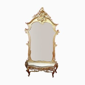 Antikes italienisches Set aus Konsole & Spiegel
