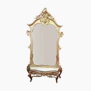 Juego de espejo y consola italiano antiguo
