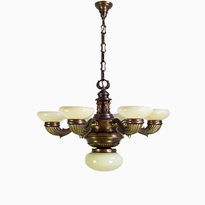 Antique Brass and Colored Glass Chandelier