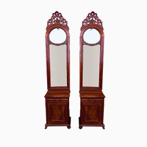 Antike französische Nachttische & Spiegel, 2er Set