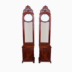 Juego de mesitas de noche con espejos francés antiguo. Juego de 2