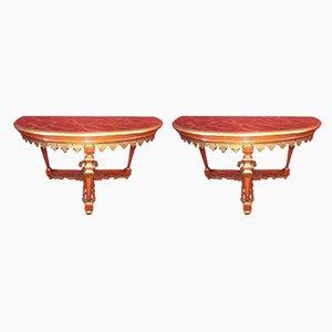 Antike italienische Konsolentische aus Marmor & Nussholz, 2er Set