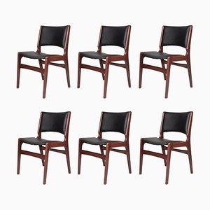 Esszimmerstühle mit Gestell aus Eiche & Bezug aus Öko-Leder von Erik Buch für Anderstrup Møbelfabrik, 1960er, 6er Set