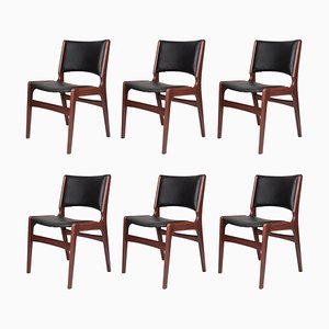 Teak & Eco-Leather Dining Chairs by Erik Buch for Anderstrup Møbelfabrik, 1960s, Set of 6