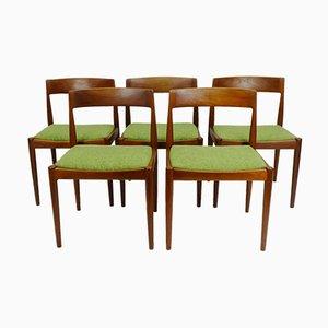 Sedie da pranzo in teak e lana di Fritz Hansen, Danimarca, anni '60, set di 5