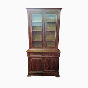 Antique French Glass and Mahogany Cupboard