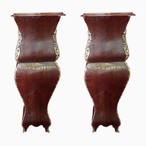 Antike italienische Säulen aus Bronze & Holz, 2er Set