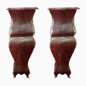Antique Italian Bronze and Wood Columns, Set of 2
