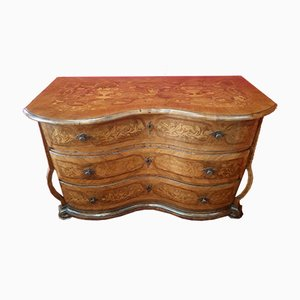 Antique Swiss Inlaid Walnut Dresser