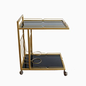 Vintage Metal and Opaline Glass Trolley, 1970s