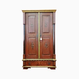 Antique Italian Red Lacquered Wardrobe
