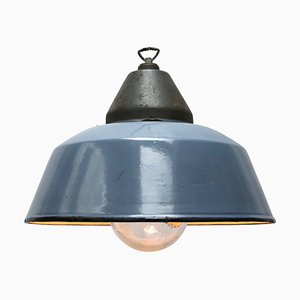Industrial Cast Iron and Enamel Ceiling Lamp, 1950s
