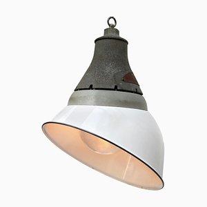 Lámpara de techo industrial de aluminio y esmalte, años 50