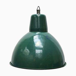 Industrielle emaillierte Mid-Century Deckenlampe, 1950er