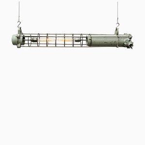 Vintage Industrial Grey Cast Aluminium Tube Pendant, 1950s