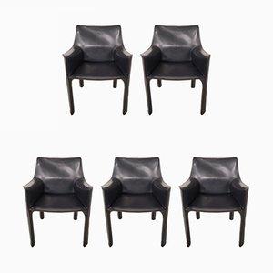 Italienische Modell CAB-413 Esszimmerstühle mit Sitz aus Leder von Mario Bellini für Cassina, 1980er, 5er Set