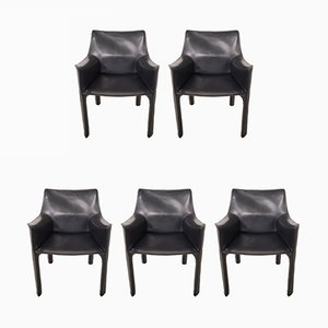 Model CAB-413 Italian Leather Dining Chairs by Mario Bellini for Cassina, 1980s, Set of 5