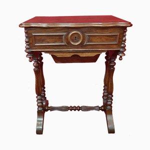 Mesa de costura francesa antigua de nogal con cajón