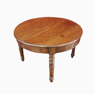 Round Antique Italian Walnut Console Table