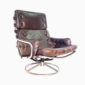 Model SZ19 Tanabe Leather and Steel Swivel Chair by Martin Visser for t Spectrum, 1960s