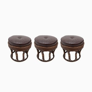 Vintage Modernist Rattan Stools, 1970s, Set of 3