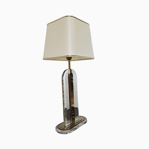 Regency Brass and Lucite Table Lamp, 1970s