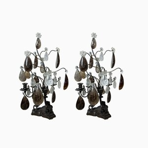 Vintage Art Deco French Crystal Girandole Candleholders, Set of 2